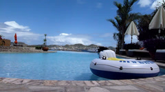 Pool on resort above sea level, St.Kitts Stock Footage