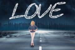Stock Illustration of Love against road leading out to the horizon
