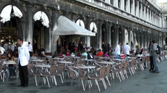 Restaurant in San Marco Square, Venice Stock Footage