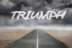 Triumph against misty brown landscape with street - stock illustration