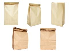 brown paper bag set - stock photo