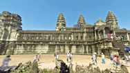 Stock Video Footage of Tourists in Angkor Wat temples. Time lapse.