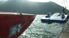 Class One racing boats docked - stock footage