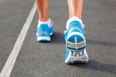 closeup of runners shoe - running concept - stock photo