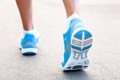 Closeup of runners shoe - running concept Stock Photos