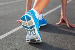 closeup of runners shoe - running concept - stock photo