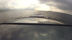 Bow and roof of navigating luxury boat - stock footage