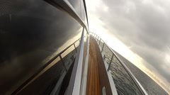 Lateral side of a navigating luxury yacht Stock Footage