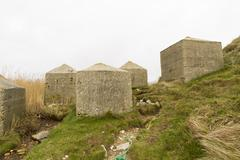 Anti tank cubes, stone world war two invasion coastal defences Stock Photos