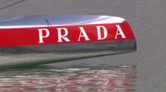 Luna Rossa catamaran in Auckland Stock Footage