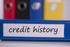 Credit history on blue business binder - stock photo