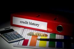 Credit history on red business binder - stock photo