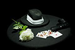 Poker gangster gun rose Stock Photos