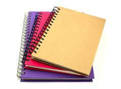 Stack of ring binder book or notebook isolated on white background Stock Photos