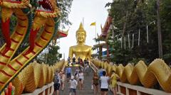 Thailand, Pattaya, February 2014. Unidentified tourists visiting BIg Buddha Hill Stock Footage
