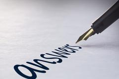Fountain pen writing Answers Stock Photos