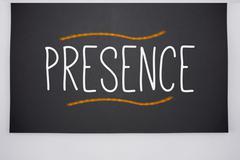 Presence written on big blackboard - stock illustration