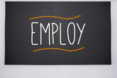 Employ written on big blackboard Stock Illustration
