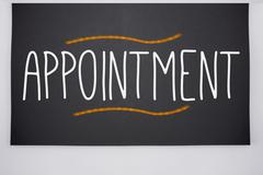 Appointment written on big blackboard - stock illustration