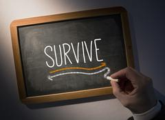 Hand writing Survive on chalkboard - stock photo