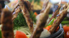 Cooking meat. Summer cook-out. Food service. - stock footage