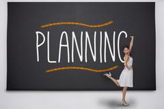 Pretty asian woman against the word planning - stock illustration