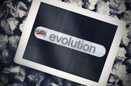 Stock Illustration of Evolution in search bar on tablet screen