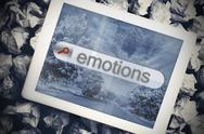 Stock Illustration of Emotions in search bar on tablet screen
