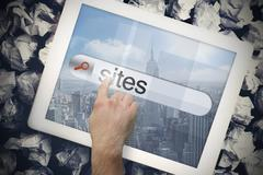 Hand touching sites on search bar on tablet screen - stock illustration
