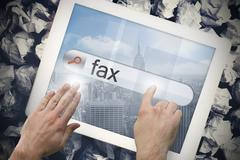 Stock Illustration of Hand touching fax on search bar on tablet screen