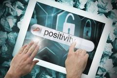 Stock Illustration of Hand touching positivity on search bar on tablet screen