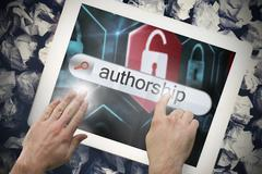 Stock Illustration of Hand touching authorship on search bar on tablet screen
