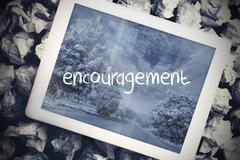 Encouragement in search bar on tablet screen - stock illustration