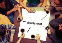 Stock Illustration of Student sitting around page saying Development
