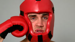 Tough boxer taking a punch to the face Stock Footage