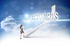 Stock Illustration of Keywords against steps leading to closed door in the sky