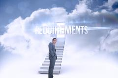 Requirements against open door at top of stairs in the sky - stock illustration