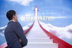 Stock Illustration of Determination against red steps arrow pointing up against sky