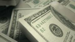 Us dollar notes scattered pile pan across Stock Footage