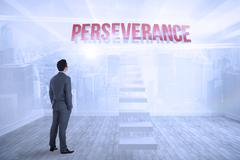 Perseverance against city scene in a room - stock illustration