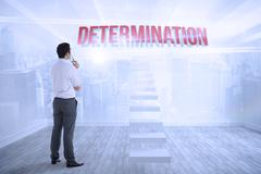 Stock Illustration of Determination against city scene in a room