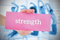 Stock Illustration of Woman holding pink card saying strength