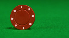 Red chip spinning on casino table Stock Footage
