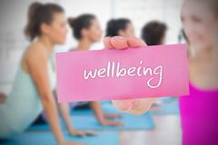 Fit blonde holding card saying wellbeing - stock illustration