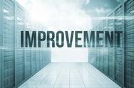 Stock Illustration of Improvement against server hallway in the blue sky