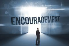 Encouragement against doors opening revealing light - stock illustration