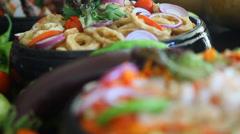Seafood salad. Sea food - healthy choice! Stock Footage