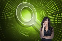 Composite image of magnifying glass and sexy brunette Stock Illustration