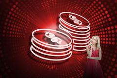 Composite image of coins and sexy blonde - stock illustration