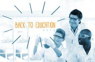 Stock Illustration of Back to education against scientists working in laboratory
